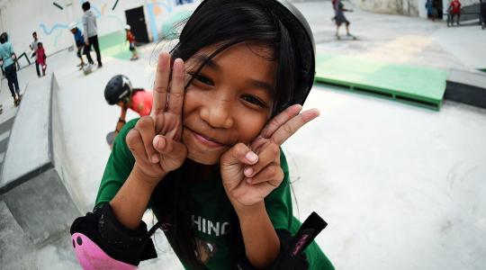 Happy Skater Girl in Cambodia