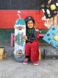 Laiqa with her skateboard