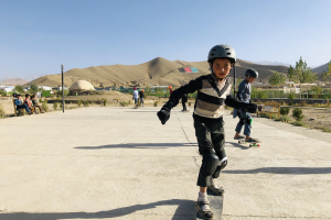 Boy skates in Bamyan